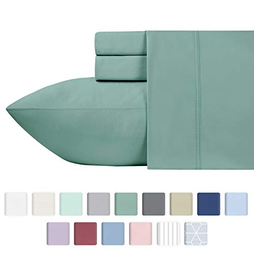 600 Thread Count Best Sheets 100% Cotton Sheets - Sage Extra Long-staple Cotton Queen Sheet For Bed, Fits Mattress 16'' Deep Pocket, Breathable & Silky Sateen Weave 4 Piece Sheets Set