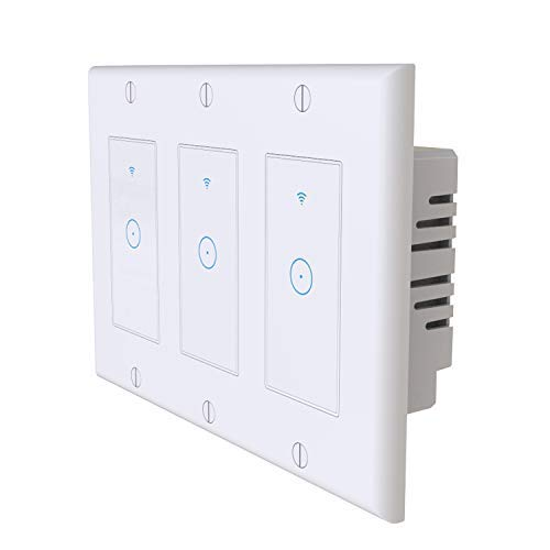 Sloson Smart Switch with Remote Control and Timer,2.4Ghz WiFi Light Switch 3 Gang Compatible with Alexa, Google Home and IFTTT, Needs Neutral Wire,No Hub Required, White