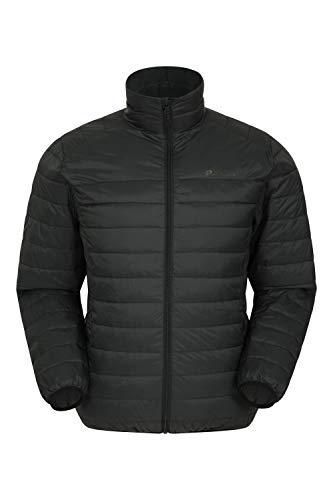 Mountain Warehouse Featherweight Daunenjacke für Herren - Leichte Winterjacke, Transportbeutel, wasserbeständige Regenjacke - Ideal für Camping Schwarz XL