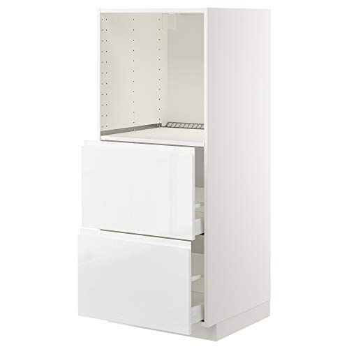 MAXIMERA/METOD armario alto w 2 cajones para horno 60x62.1x148 cm blanco/Voxtorp alto brillo/blanco
