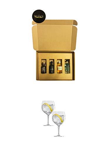 Gin Geschenkbox London Blue, Saffron, Black Gin, Filliers 4 x 0,05 Liter + Spiegelau Gin & Tonic 4390179 2 Gläser
