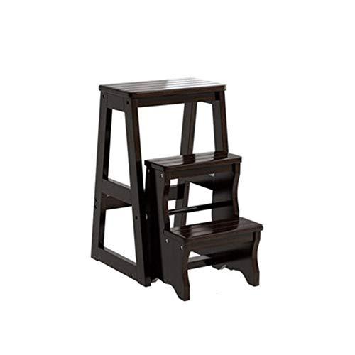 Stair stoel Drie-laddertje Household vouwen Woonkamer multifunctionele klimmen ladder massief hout productie drie stijlen stair kruk (Color : Black)