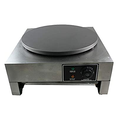 "Commercial Crepe Maker Machine, 110V 3KW 16"" Nonstick Electric Pancake Griddle Single Hotplate Adjustable Temperature 50-300?(122-572?) with Batter Spreader for Roti Tortilla Blintzes"