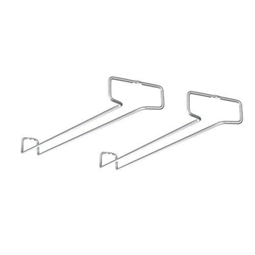 Metaltex 364924039 Rail Weinglashalter 2er Set Polytherm, Beschichtung, grau, 41 x 11 x 4 cm