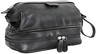 Carlucci Leather Premier Leather Toiletry Bag with Zip Drop Bottom, Rich Genuine Cowhide, 2 Big Compartments, Heavy Duty Zippers, Pull Handle, Leather Tabs. In Tan or Black