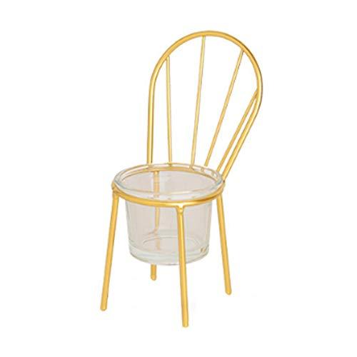 DaoDai Portavelas de metal de hierro forjado, silla, portavelas nórdico, para cumpleaños, Navidad, boda, decoración, salón