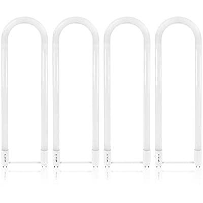 Luxrite U Bend LED Tube Light, T8 T12, 18W (32W Equivalent), 3500K Natural White, 2100 Lumens, Fluorescent Light Tube Replacement, Direct or Ballast Bypass, DLC and ETL Listed, G13 Base (4 Pack)