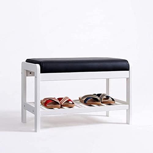 GQQ Hgdd Wood Shoe Rack Bench Storage Organiser Cabinet with Seat Cushion,Changing Shoes Stool for Hallway Door Entryway,25.6X13.4X16.5In Shoe Shelf/Vino Rojo
