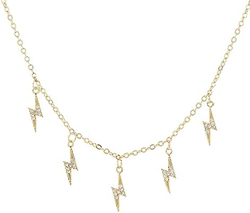 MORGAN8668 - Trendy Inlaid Zircon 5 Ligtning Shaped Pendant Necklace Charm Summer Statement Choker Necklace for Women Girls Gift Jewelry 2021 (18K)