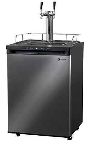 Kegco K309X-2 Keg Dispenser, 2 Faucet, Black Stainless Steel