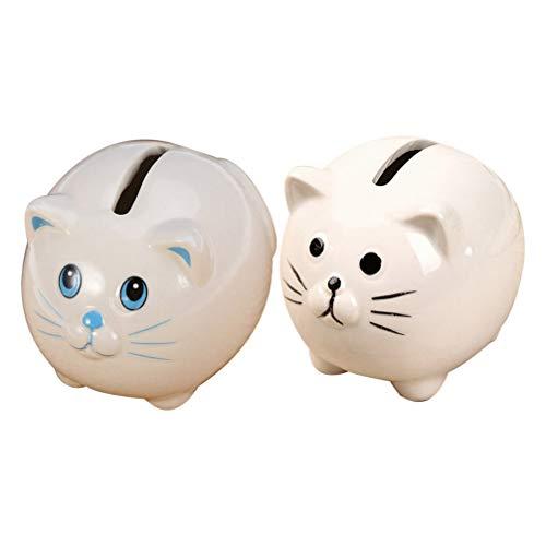 BESPORTBLE 2 Stücke Keramik Sparschweine für Kinder Jungen Mädchen Nette Katze Geld Münzen Banknoten Spardose (Blau + Weiß)