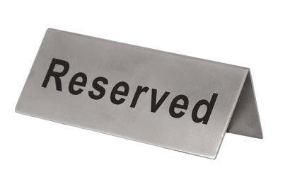 Reserved Signs Stainless Steel Double Sided Pack of 6