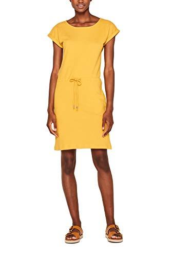 Cómodo vestido amarillo con hombreras y lazo en la cintura