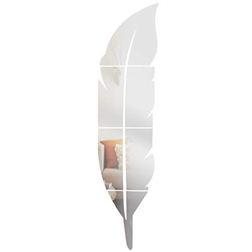 Anladia 6tlg Spiegelfliesen Wandspiegel Selbstklebend Silber S, Feder-Spiegel 73x18cm aus PVC für Badezimmer, Küche, Wohnzimmer, Umkleidekabine
