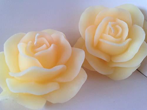 Wieschalla-Design 13€/Stck Bienenwachskerze Rosenkerze Rosenblüte Natur Weiss ca. 10 x 10 x 6 cm Bienenwachs Gebleicht GERUCHSNEUTRAL Geschenk