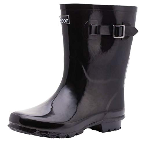Jileon Mid Calf Rain Boots | Specially Designed for Wide Feet, Ankles & Calves | Half Height Wide Calf Rain Boots for Plus Size Women | 100% Waterproof Wide Calf Rain Boots - Mid Calf