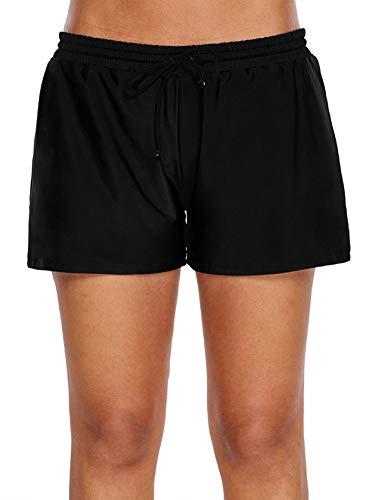 WILLBOND Women Swimsuit Shorts Tankini Swim Briefs Bottom Boardshort Summer Beach Swimwear Trunks (Black, XXXL)