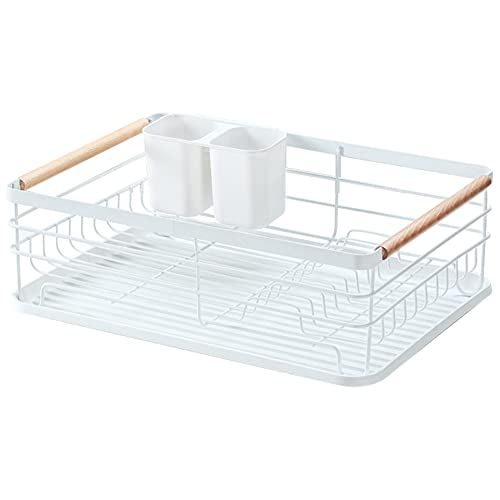 Feibrand Dish Drying Sink Rack: Kitchen Small Dish Drainer Rack with Removable Drip Tray - Metal Anti Rust Counter Dishes Drain Dryer Racks with Plastic Drainboard& Two Wooden Holder   White