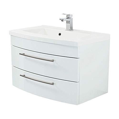 Lomadox Badezimmer Waschtisch 80cm mit Unterschrank Hochglanz weiß 2 Softclose-Auszüge