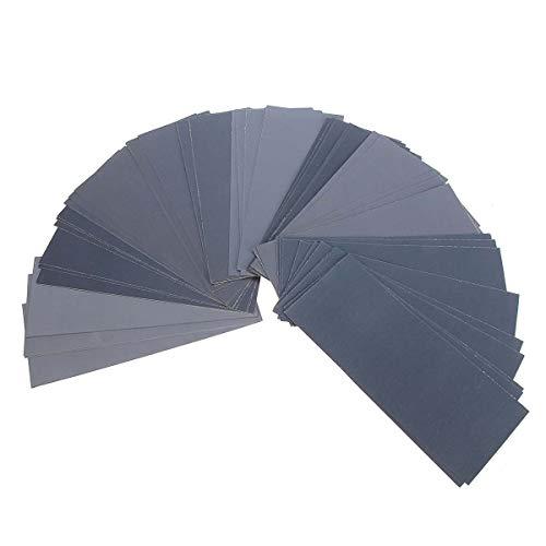 Traje de papel para lijar en seco y húmedo - Papel de lija de grano 400 a 3000, surtido de papel de lija en seco y húmedo 9 x 3,6 pulgadas 90 piezas