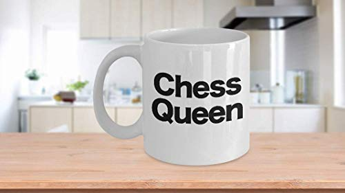 Chess Queen Mug White Coffee Cup Funny Gift for Gamer Grandmaster Player