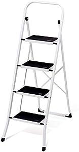 HOUSE DAY Escalera de Peldaño Plegable de 4 Peldaños Certificado GS 150 kg para Cocinas, Casa, Exteriores, Adultos