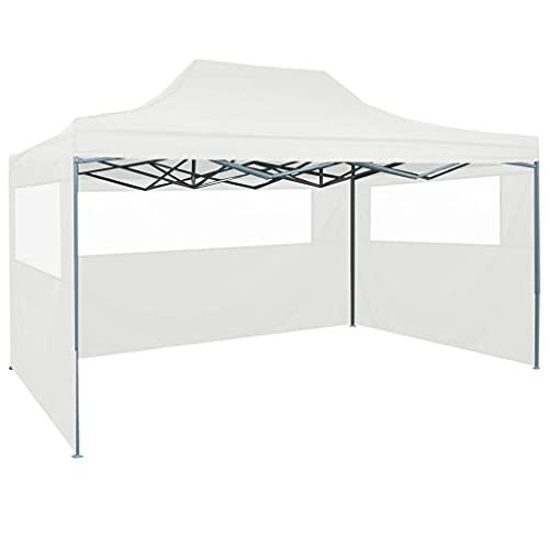 vidaXL Tente Pliable de Réception avec 3 Parois Tonnelle d'Extérieur Chapiteau de Jardin Voyage de Camping Barbecue Mariage 3x4,5 m Blanc