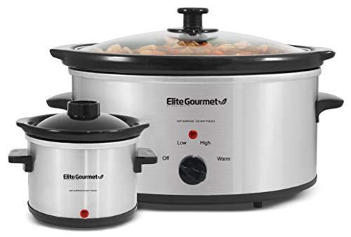 Elite Gourmet MST-500D Slow Cooker with Adjustable Temp, Entrees, Sauces, Stews & Dips, Dishwasher Safe Glass Lid & Crock (5 Quarts, Stainless Steel)
