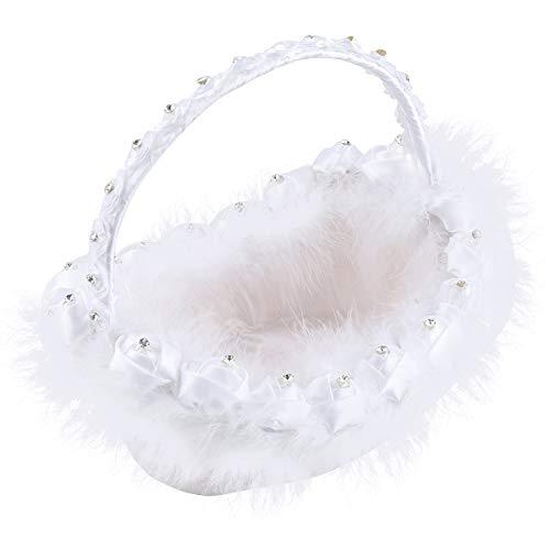 Regalos de Mayo Canasta de Plumas Blancas, Canasta de Flores Blancas con Diamantes de imitación para decoración de Fiesta de Ceremonia de Boda romántica