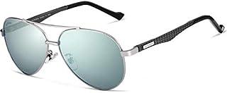نظارة شمسية كلاسيكية افياتور من ألياف الكربون الممتازة، مستقطبة، حماية من الأشعة فوق البنفسجية بنسبة 100%، لون أخضر