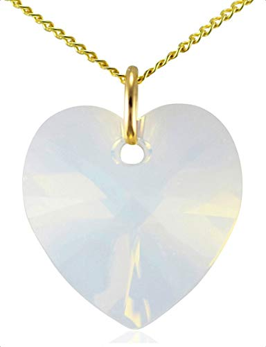 Women 9ct Yellow Gold October Birthstone Opal White Heart Necklace Genuine Austrian Crystal Pendant 18 inch