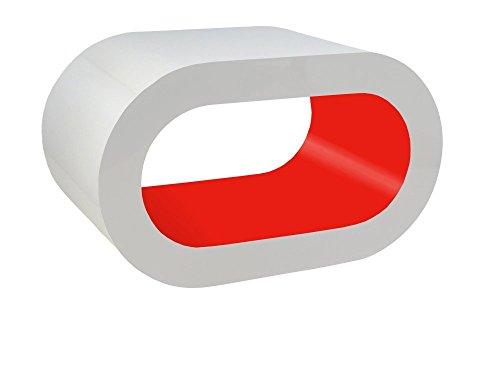 Zespoke Design Scatola Bianca e Pilastro Rosso caffè Cerchio Supporto da Tavolo/TV in Vari Formati