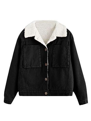 DIDK Damen Kurz Winterjacke Jacke Sherpa Lined Mantel Coat Outwear Parka Einreiher mit Taschen Schwarz S