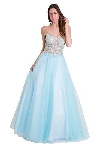 Jessica Stuart Himmelblau 32399 Verzierte Mieder Voller Rock Kleid UK 12 (US 8)