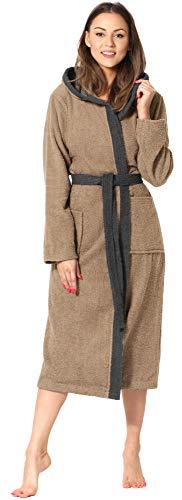 Ladeheid Peignoir de Bain Éponge 100% Coton Femme LA40-191 (Beige-8/Gris Foncé-12, S)