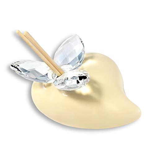 Albalù Bomboniere Profumatore Matrimonio Ceramica di Capodimonte Cuore Sabbia (Scatola e Boccettina Profumo Inclusi)