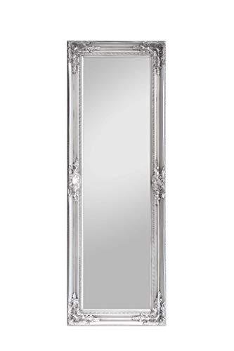 Rococo by Casa Chic - Silberner Shabby Chic Spiegel zum Hinstellen oder Aufhängen - Handgefertigt - Barock - Groß - 130x45 cm - Antik Silber - Facettenschliff