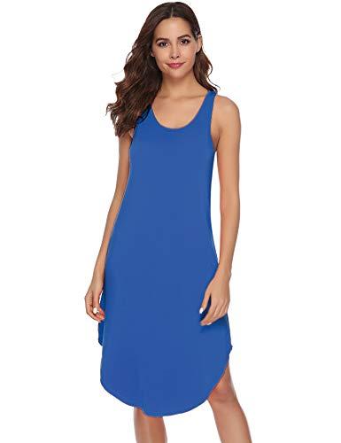 Aibrou Camisón Mujer Algodon Verano Corto,Vestidos Pijama Casual Comodo y Suave Casual sin Manga S-XXL (L, Azul)