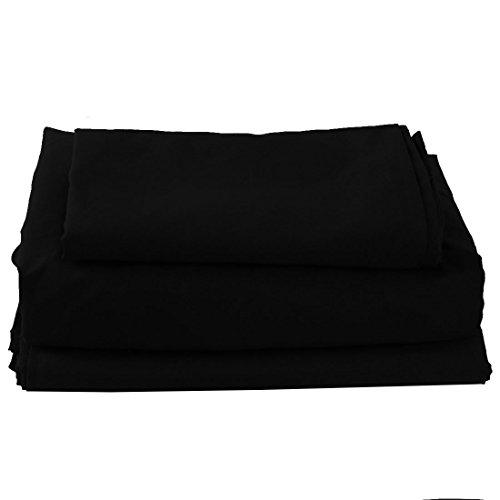 Juego de sábanas de 3 piezas de microfibra suave cepillada, bolsillo grande de 1800 hilos, doble resistente a las arrugas y a la decoloración, color negro