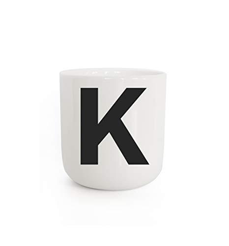 PLTY - Taza K - Taza con letra K - Taza sin asa - Porcelana blanca vitrificada a mano - Diseño danés - The Wave - Cup with letter K