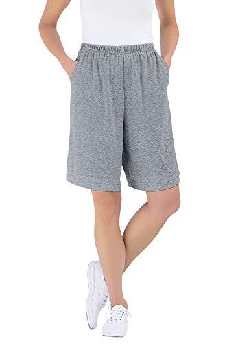 Woman Within Women's Plus Size 7-Day Knit Short - 1X, Medium Heather Grey Gray