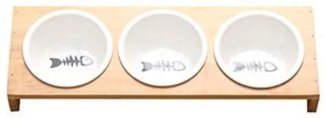 HAOSHUAI Fashion Dog Futternäpfe Schüssel Bambus Geschirr Keramik Hundefutter Wasserschüssel Hoher Grad Antiskid Tierbedarf Fressnapf L (Size : L)