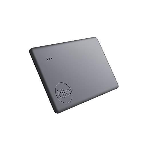 Tile Slim (2020) Bluetooth Trova Oggetti, 1 Pezzo, Nero, Portata di Rilevamento di 60m, batteria 3 anni, Compatibile con Alexa e Google Home, iOS e Android, Trova Chiavi, Portafogli, Borse e Altro