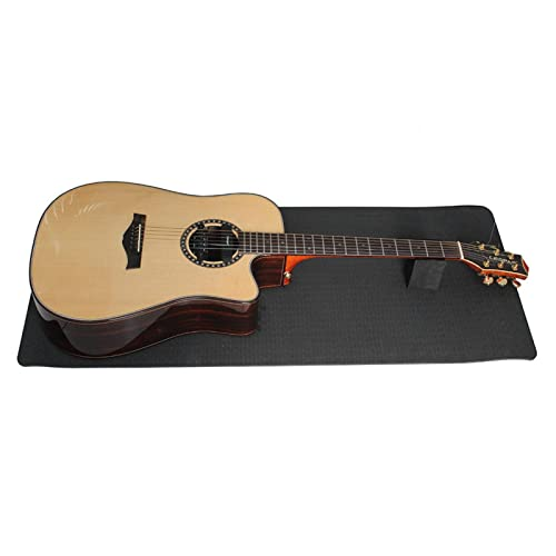 Alfombrilla de trabajo de guitarra de goma y soporte para el cuello, para cambiar cuerdas, reparar, limpiar y mantener tu instrumento musical (negro)