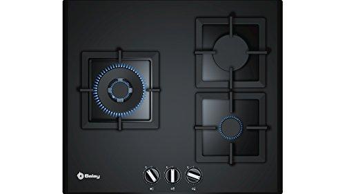 Balay, 3ETG663HB - Placa de gas butano, 3 Zonas, 60 cm, Cristal templado negro, Autoencendido integrado en los mandos, Seguridad GasStop