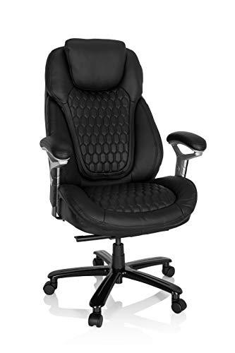 hjh OFFICE Butaca 738127 XXL - Silla de Oficina (Cuero, soporta hasta 180 kg, Acolchada, Altura Regulable, Talla única), Color Negro