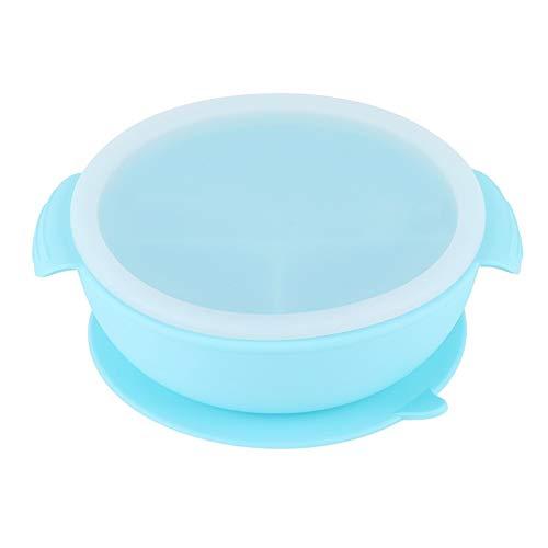 Conkergo La Ciotola del Cibo integrativa dei Bambini del Silicone Portatile del Silicone con Il blueware del Coperchio della Paglia Blu
