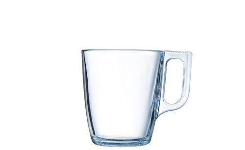Arcoroc ARC L3693 Voluto Bockbecher, Kaffeebecher, Kaffeetasse, 250ml, Glas, transparent, 6 Stück