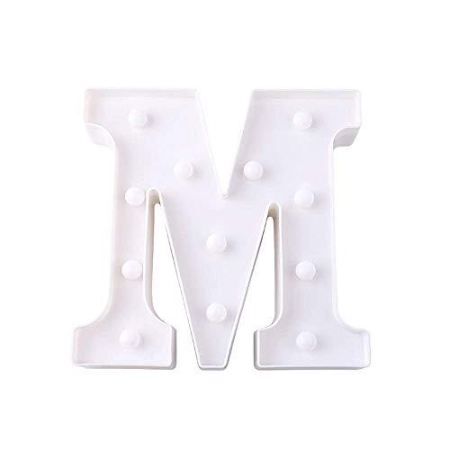 BOLLAER Lámpara de alfabeto, luces LED para carta, 26 letras, letras, letrero iluminado, funciona con pilas, perfecto para luz nocturna, boda, cumpleaños, fiesta, Navidad, lámpara de hogar, bar