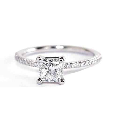 Anillo de compromiso de platino con diamante de talla princesa francesa VS2 F de 0,75 quilates